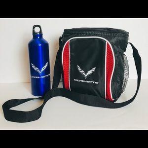 Corvette Lunch Bag And Water Bottle Set Black Blue